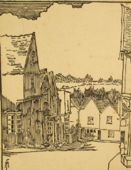 Frank Milray (Mayes); 'Colchester' pencil signed 1920's